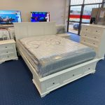 second hand white queen bed suite